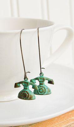 Vintage Telephone Earrings Green Call Me Maybe