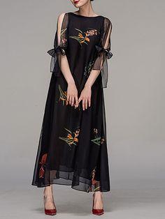 Floral-print Chiffon Maxi Dress Chocolatone - stylewe.com