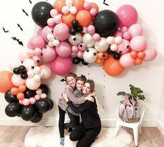 Blowing Up Balloons, Big Balloons, The Balloon, Halloween Birthday, Halloween Party Decor, 8th Birthday, Star Garland, Balloon Garland, Crazy Eyes