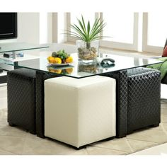 Ottoman Storage Coffee Table : Black And White Ottoman Coffee Table. Coffee Table With Stools Underneath, Coffee Table With Seating, Made Coffee Table, Glass Top Coffee Table, Coffee Table With Storage, Coffee Table Design, Modern Coffee Tables, Glass Table, Upholstered Coffee Tables