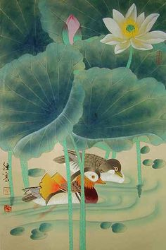 Lotus and mandarin ducks - Chinese painting - the most exotic of all the ducks I think.
