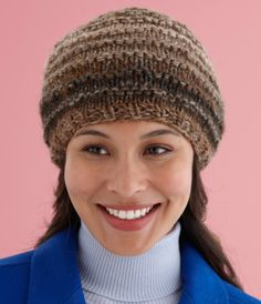 Ridgley Hat..free pattern from Lion Brand...uses 2 stands of yarn together, so would be quick to make.