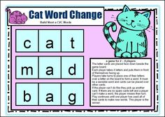 CVC Word Game that makes them thinkg! Short Vowel CVC Board Games by Games 4 Learning is a collection of 18 printable short vowel board games to practice reading, identifying and creating CVC Words with Short Vowels. $