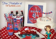 Free printables for patriotic water bottle labels, cake toppers, and many other decorations for your 4th of July party!
