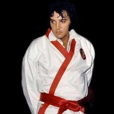 Elvis during filming of his karate documentary; which Elvis never completed.