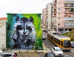 "Bordalo II creates ""Big Racoon"", a stunning street installation in Belem, Portugal - via Streetart News 27.04.2015 