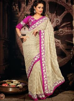Beige Faux #Georgette #Embroidered Saree