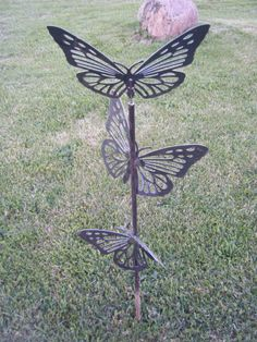 Trio Butterfly Yard/Garden Decor. We design and fabricate all our work and welcome new idea's.