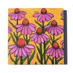 Coneflower Painting - Original Cone Flower Mixed Media Floral Painting by Claudine Intner - Pink Flo Flower Canvas, Flower Art, Mixed Media Painting, Yellow Background, Pink Flowers, Art Decor, Original Paintings, My Arts, The Originals