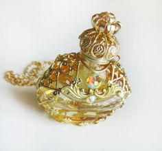 Upcycled Perfume Bottle, Miniature Glass Bottle, Honey Perfume Scent Bottle