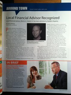 MF Advisers, Inc.'s article in the Sept '13 issue of Dalls/Back Mountain Life magazine re: the CEO of MF Advisers, Inc. Martin A. Federici, Jr.'s inclusion in Paladin Registry.