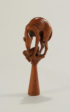 George III carved fruitwood pipe tamper, English, c. 1790, M. Ford Creech