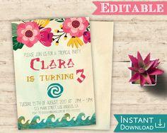 Moana Birthday Party, Moana Party, Birthday Parties, 5th Birthday, Moana Bebe, Tropical Party, Printable Birthday Invitations, Party Ideas, Party Party