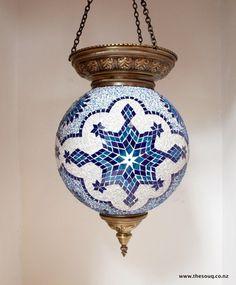Large Mosiac Lantern, blue & white