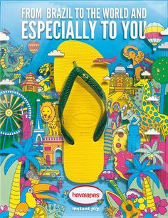 Campaign for marketing the Havaianas brand in Europe and China. Work done at AlmapBBDOCreative Direction: Pedro ZuccoliniDesign and illustrations:Bruno BorgesPedro ZuccoliniPedro Kobuti Shoe Advertising, Advertising Poster, Advertising Design, Ad Design, Graphic Design, Shoes Ads, Rio Carnival, Photoshop, Travel Posters