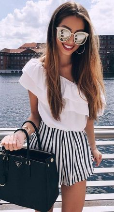 #spring #outfits   White Ruffle Off The Shoulder Top + Striped Short