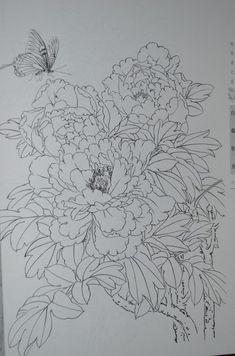 모란도안 Peony Painting, Sketch Painting, China Painting, Fabric Painting, Watercolor Paintings, Chinese Artwork, Floral Drawing, Outline Drawings, Silk Art