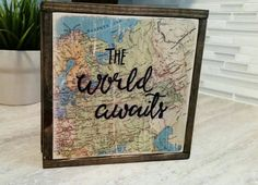 Travel decor/The World Awaits wood sign/Map by lakecountrycottage