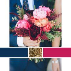 Wedding Color Scheme Inspiration | Navy, Raspberry, and Gold | http://DefiningOrdinary.com