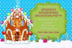 GINGERBREAD HOUSE party invitation - U PRINT - 3 to choose - customizable. $8.00, via Etsy.