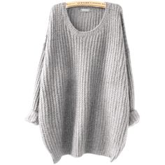 SheIn(sheinside) Grey Drop Shoulder Textured Sweater (54 PLN) via Polyvore featuring tops, sweaters, grey, grey pullover, long sleeve sweater, oversized grey sweater, oversized gray sweater i pullover sweater