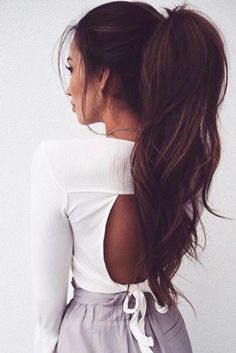 9 ponytail for every occasion high ponytails, messy ponytail hairstyles, fancy hairstyles, straight Messy Ponytail Hairstyles, Lob Hairstyle, Straight Hairstyles, Fancy Hairstyles, Long Ponytails, Natural Hairstyles, Girl Hairstyles, Ponytail Ideas, Beach Hairstyles