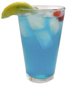 A delicious recipe for Blue Lemonade, with water, Kool-Aid Strawberry mix, Blue Curacao liqueur and vodka.