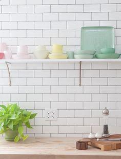 dream home | colorful shelf storage in the kitchen