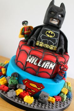 Lego superhero Cake - for how to make a lego man in fondant go to https://www.youtube.com/watch?v=aVsyDVMREuU&list=TLa3epA9og55ziva1-IokNlgfAwRhxS4dv