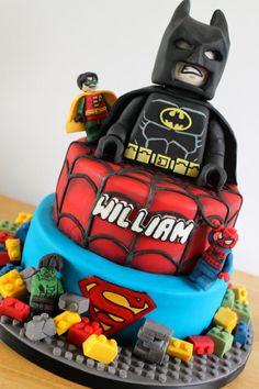 Lego superhero Cake - for how to make a lego man in fondant go to https://www.youtube.com/watch?v=aVsyDVMREuUlist=TLa3epA9og55ziva1-IokNlgfAwRhxS4dv