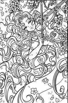 Girl playing violin coloring page Turma da Mônica Cute Coloring Pages, Animal Coloring Pages, Coloring Pages To Print, Printable Coloring Pages, Adult Coloring Pages, Coloring Sheets, Coloring Books, Zentangle, Stencils