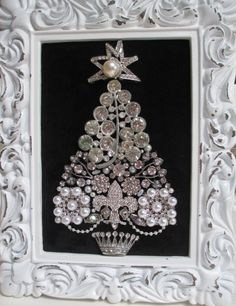 Jeweled Framed Christmas Tree Silver Rhinestones by audreymivey, $70.00