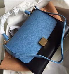 Celine Collection Outlet-Celine Trapeze Bag with blue+black+apricot