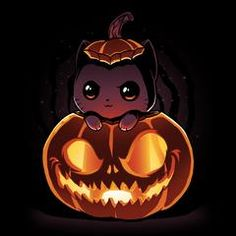 """""""BOO! I iz scary!"""" Get the Pumpkitten t-shirt only at TeeTurtle!"""