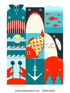 Flat Sea and Fish Rectangular Nautical Set. Marine design collection. Vector layered EPS8 illustration. - stock vector