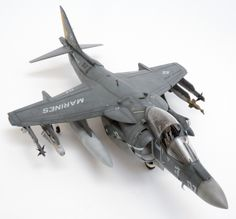 Harrier from Hasegawa; detailed with Aires wheel wells and cockpit. Decals from SuperScale.
