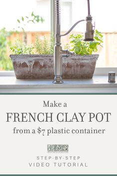 Learn how to make a cheap plastic flower container look like a vintage French clay pot with this easy, DIY tutorial from Iron Orchid Designs. Pots D'argile, Clay Pots, Dyi, Transformers, Plastic Planters, Large Planters, Iron Orchid Designs, Paint Brands, Patio Accessories