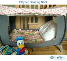 My friend made the perfect reading nook for her daughter out of her old playpen. If you have one laying around, why not repurpose it and give your kids a fun new place to read!
