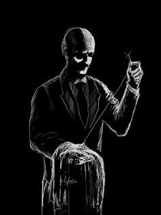 Batman character art done in a scratch art style byEduardo Cortes Trujillo