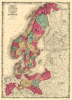 Map of Scandinavia and Prussia - 1860