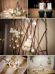Love these romantic branches, candles, succulent favors, and blush florals