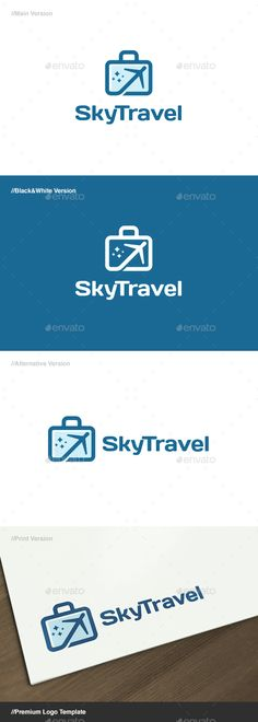 Sky Travel Logo: Object Logo Design Template created by domibit. Logo Design Template, Logo Templates, Logo Branding, Logos, App Logo, Travel Logo, Travel Checklist, Symbol Logo, Ad Design