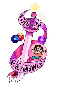 ❤ Love is the answer. ❤ A commission for the lovely that was used for a tattoo.) And you can buy it on redbubble as a sticker, tshirt, hoodie, etc. Steven Universe Tattoos, Perla Steven Universe, Steven Universe Ships, Wallpapers Wallpapers, Dog With A Blog, Was Ist Pinterest, Universe Art, Cartoon Network, Tatoos