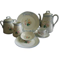 1880's Charles Haviland Limoges 'Wild Flowers' 30-Piece from brysantiques on Ruby Lane
