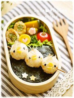 Skewered Chicken (Fake Japanese Yakitori) Kyaraben Bento Lunch © Mai http://ameblo.jp/maisland/