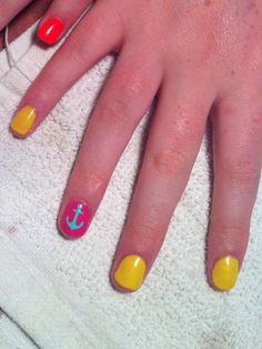 Pink blue yellow nautical nails Nails by Missy