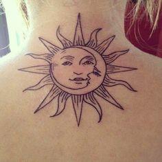 Sun & Moon Tattoo On Back-Back Tatoos, Black Ink, Minimal, back Tatoo, back…