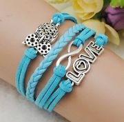 Friendship Bracelet-baby blue & Silver