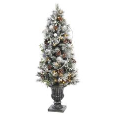 null 5 ft. Battery Operated Snowy Silver Pine Potted Artificial Christmas Tree with 50 Clear LED Lights