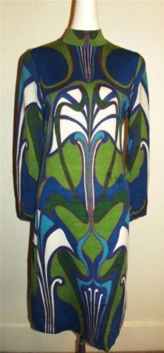 Vintage 60's/70's Goldworm Psychedelic Op Art Italian Merino Wool Knit Dress S/M